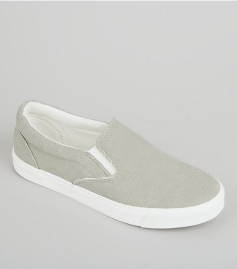 Grey Suedette Perforated Plimsolls | New Look