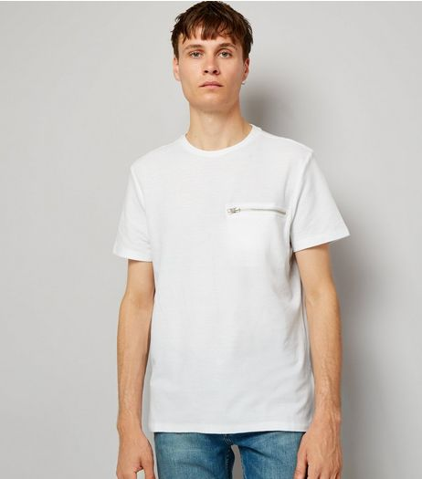 White Zip Detail T-Shirt | New Look