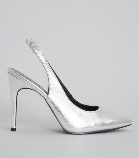Wide Fit Silver Sling Back Pointed Heels | New Look