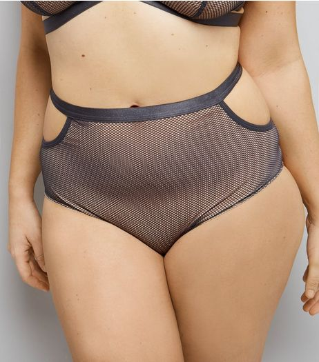 Curves Grey Strappy Mesh High Waist Briefs | New Look