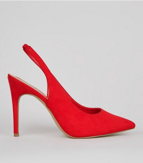 Wide Fit Red Suedette Pointed Sling Back Heels | New Look