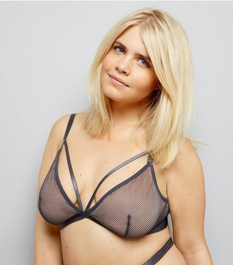 Curves Grey Strappy Mesh Bralet | New Look