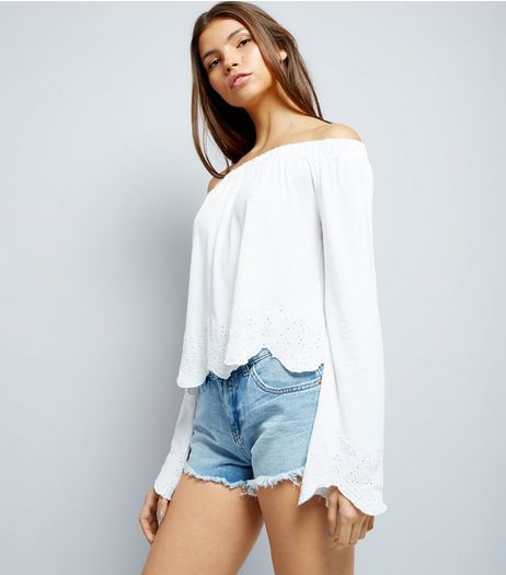 White Cut Out Hem Bardot Neck Top  | New Look
