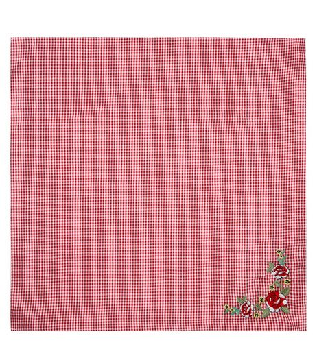 Red Gingham Floral Embroidered Bandana | New Look