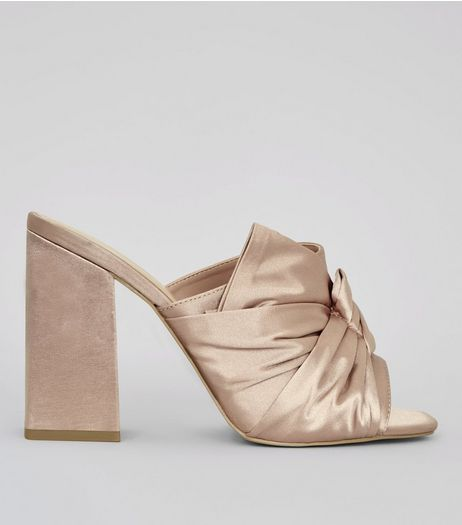 Wide Fit Pink Satin Twist Top Heeled Mules | New Look