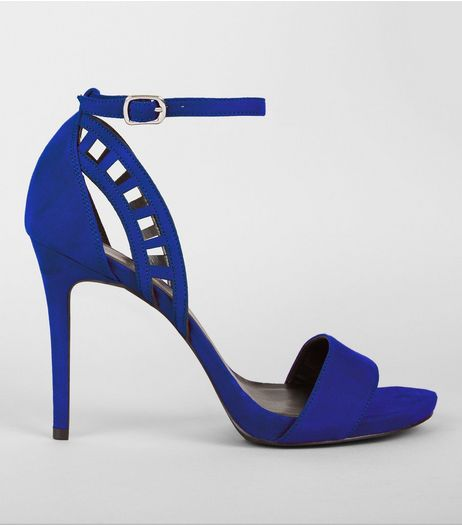 Wide Fit Blue Cut Out Side Heels | New Look