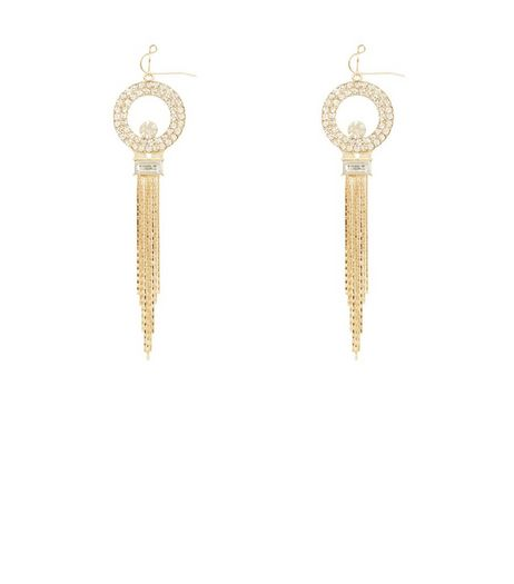 Gold Diamond Ring Tassel Drop Earrings | New Look