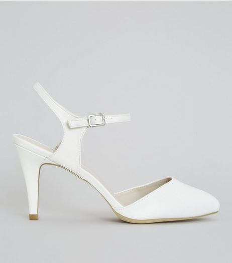 Wide Fit Ivory Satin Ankle Strap Court Shoes | New Look