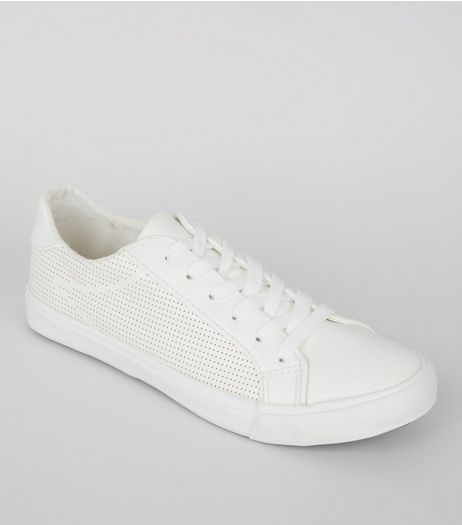 White Perforated Side Lace Up Trainers | New Look