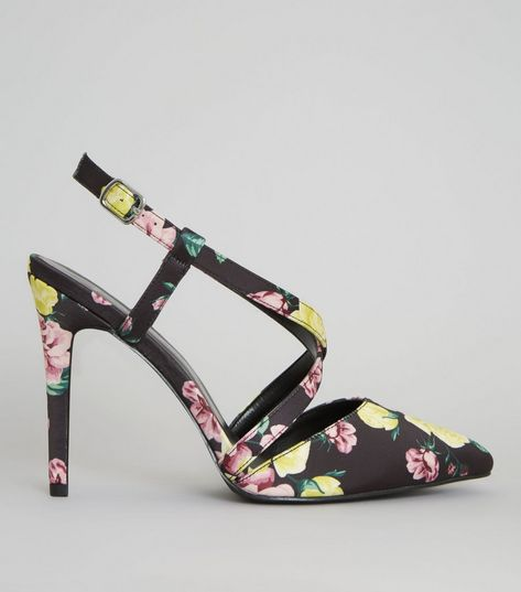 Wide Fit Black Floral Satin Pointed Heels | New Look