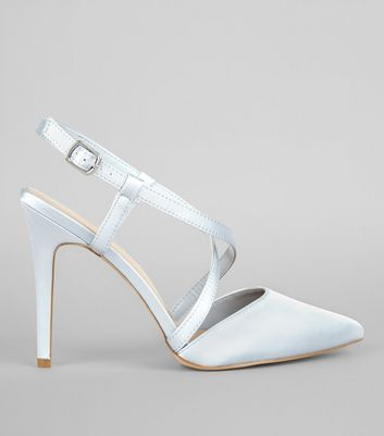 Wide Fit Pale Blue Satin Cross Strap Pointed Heels | New Look