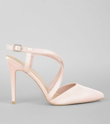 Wide Fit Pink Satin Cross Strap Pointed Heels | New Look