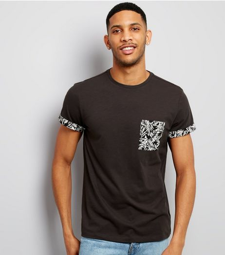 Grey Palm Print Pocket T-Shirt | New Look