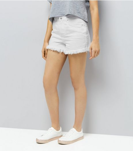 White Denim Mom Shorts  | New Look