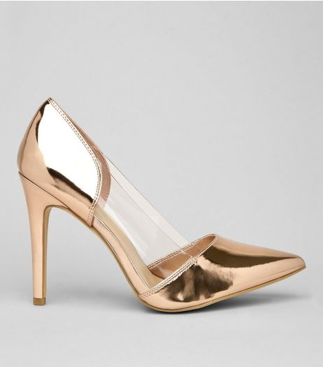Wide Fit Rose Gold Clear Side Court Shoes | New Look