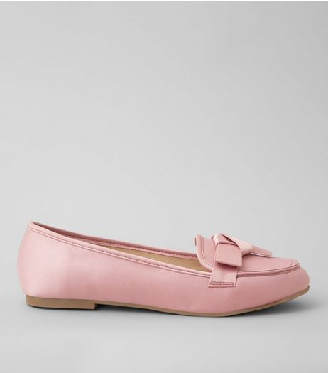 Pink Satin Bow Front Loafers | New Look