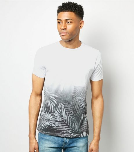 White Ombre Palm Leaf Print T-Shirt | New Look
