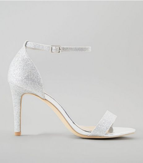 Wide Fit Silver Glitter Ankle Strap Heels | New Look