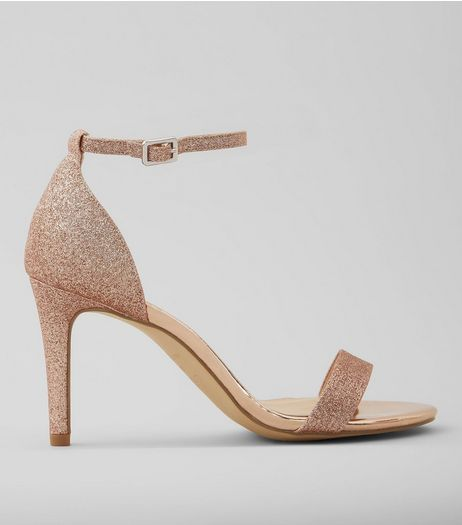 Wide Fit Rose Gold Glitter Heeled Sandals | New Look