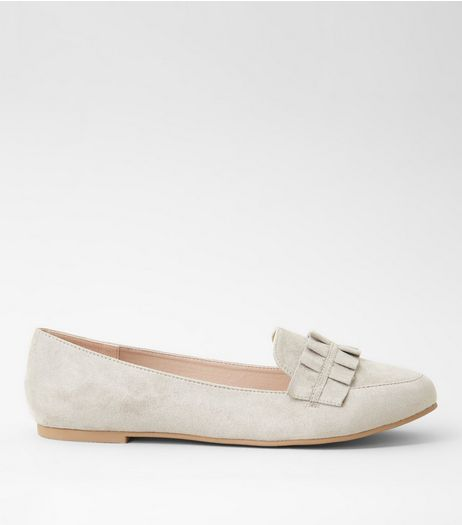 Grey Suedette Frill Trim Loafers | New Look