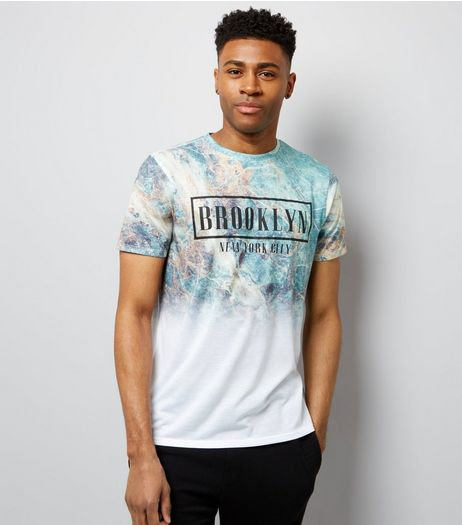 White Brooklyn Marble Print T-Shirt | New Look