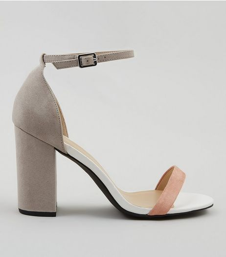 Wide Fit Grey Contrast Strap Block Heels | New Look