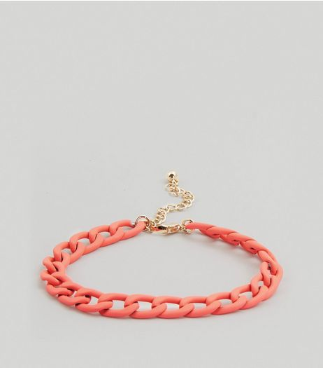Neon Pink Chunky Chain Anklet | New Look