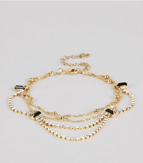 Gold Layered Drape Crystal Anklet | New Look