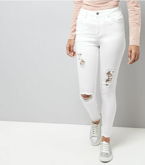 Petite White High Waist Super Skinny Ripped Hallie Jeans | New Look