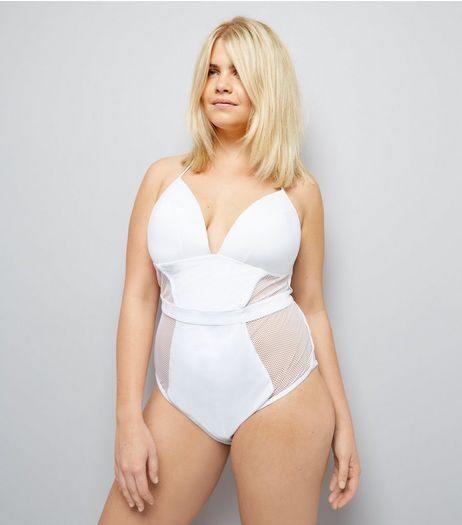 Curves White Mesh Panel Halter Neck Swimsuit | New Look