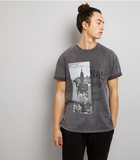 Grey Acid Wash Spliced Print T-Shirt | New Look