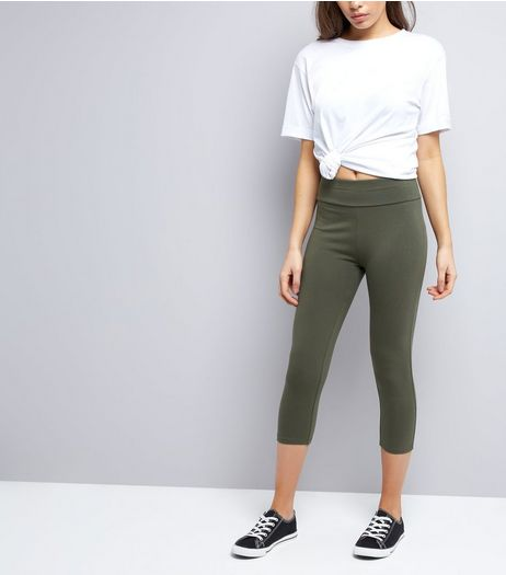Khaki High Waisted Cropped Leggings  | New Look