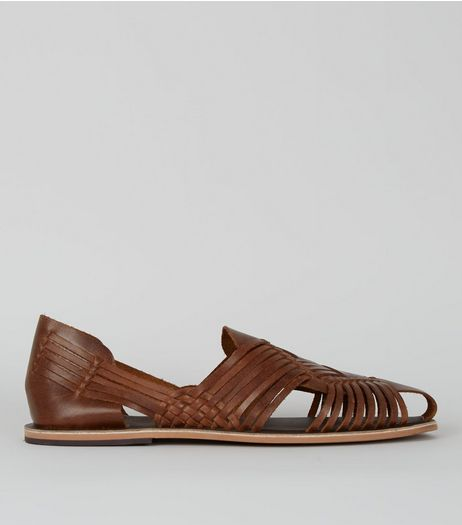 Brown Leather Woven Huarache Sandals | New Look