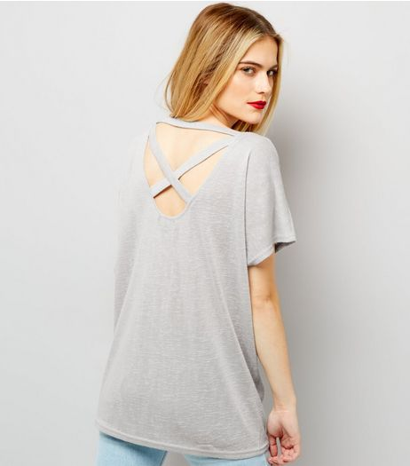 Pale Grey Cross Strap Back T-Shirt  | New Look