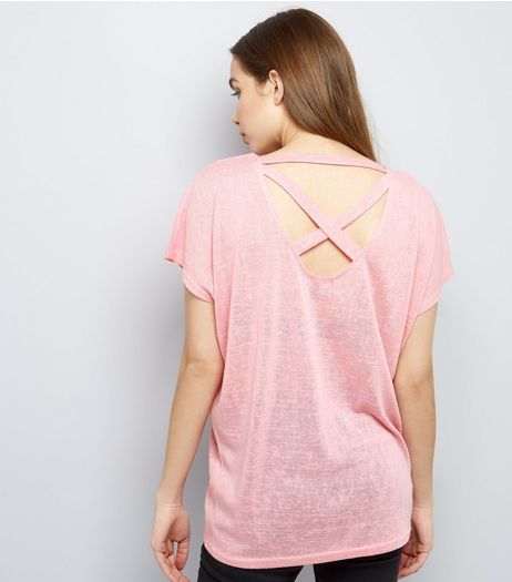 Bright Pink Cross Strap Back T-Shirt  | New Look