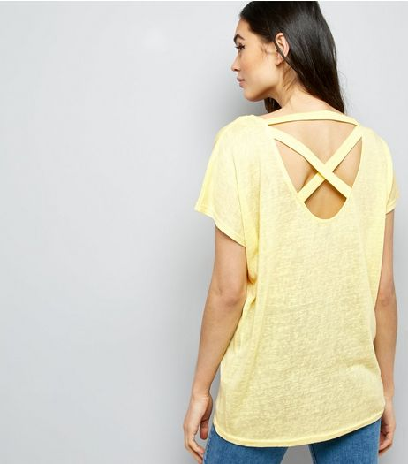 Yellow Cross Strap Back T-Shirt  | New Look