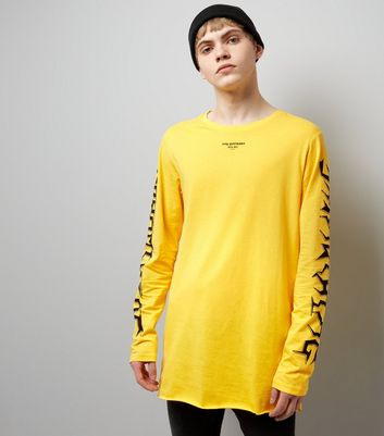 Yellow Say Nothing Sleeve Print Long Sleeve T-Shirt
