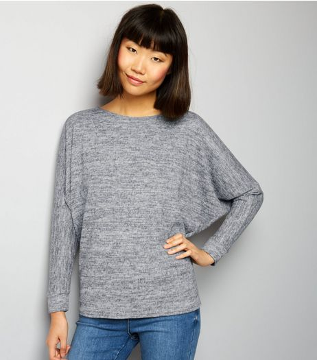 Pale Grey Brushed Fine Knit Batwing Sleeve Top | New Look