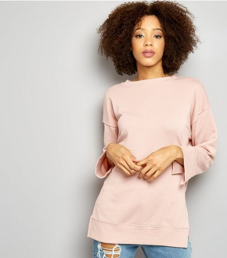 Shell Pink Longline Step Hem Sweater | New Look