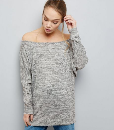 Pale Grey Brushed Bardot Neck Longline Top  | New Look