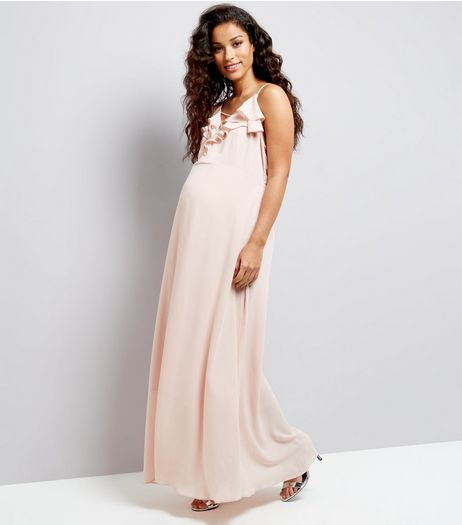 Maternity Shell Pink Chiffon Frill Trim Maxi Dress | New Look
