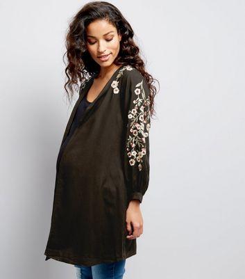 Maternity Black Floral Embroidered Kimono