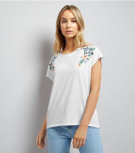 White Floral Embroidered Trim Top | New Look