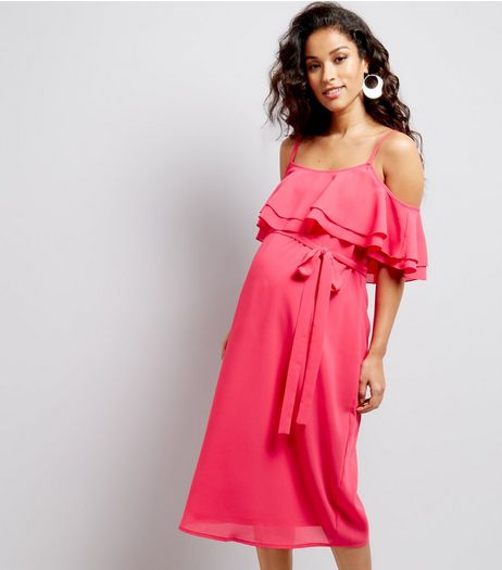 Maternity Bright Pink Frill Trim Cold Shoulder Midi Dress | New Look