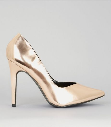 Wide Fit Rose Gold Pointed Court Shoes | New Look
