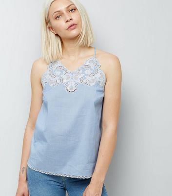 Blue Crochet Neck Stripe Cami Top