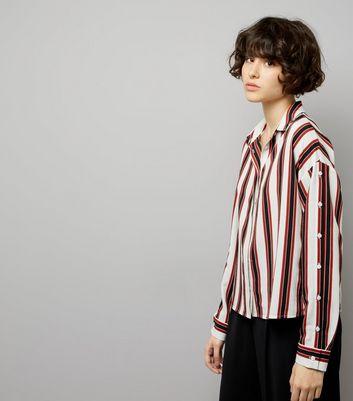 White Contrast Stripe Button Sleeve Shirt