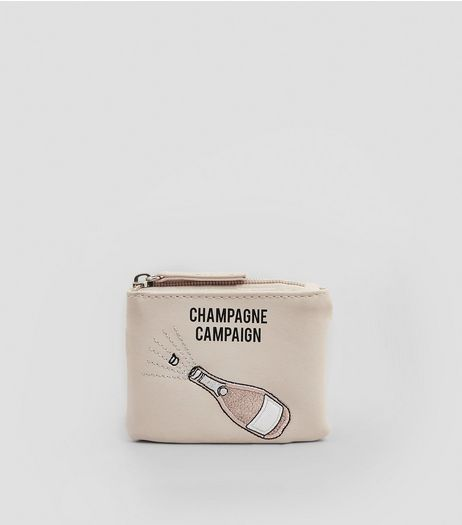 Pink Embroidered Champagne Campaign Purse | New Look