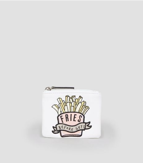 White Fries Before Guys Zip Top Purse | New Look