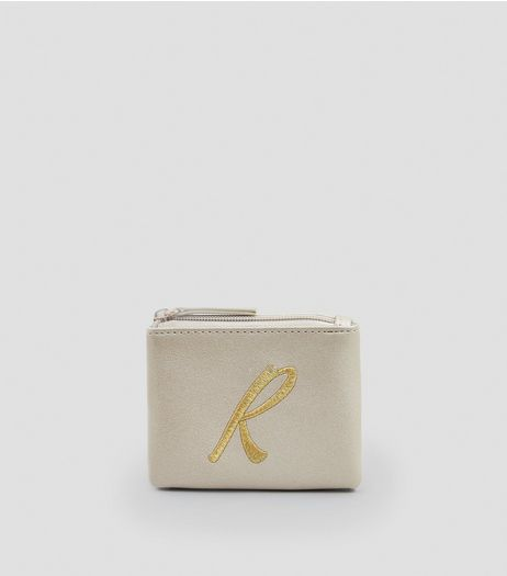 Stone R Initial Zip Top Purse  | New Look